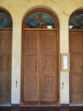 Doors on the church on Cyprus stock photography