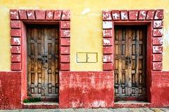 Wooden doorways in San Cristobal de las Casas, Mexico stock image