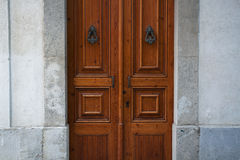 Wooden doors with handles Royalty Free Stock Photo