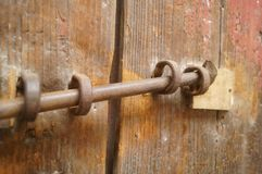 Wooden doors and locks in an old house Royalty Free Stock Images