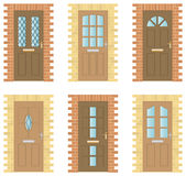 Wooden Doors Set Stock Images
