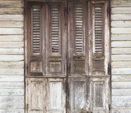 Wooden doors, traditional old doors with wooden wall Royalty Free Stock Photography