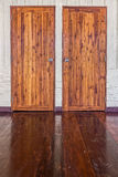 The wooden doors, wall and floor of traditional Thai house Stock Images