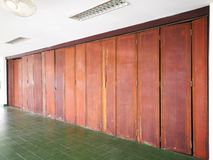 Wooden doors in the closed work. Wooden doors at work closed because of a long holiday royalty free stock photography