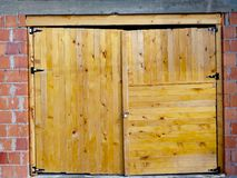 Wooden doors of yellow color royalty free stock photo