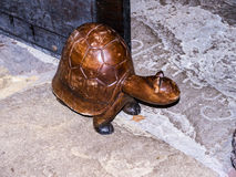 Wooden doorstop in St Mary's Parish Church in Nether Alderley Cheshire. Royalty Free Stock Image