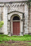 Wooden double door with stone columns, Jerusalem Royalty Free Stock Photography