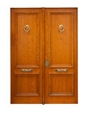 Wooden double doors. Isolated over white Royalty Free Stock Image