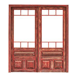 Wooden double glazed door without the glass isolated on white Royalty Free Stock Photography