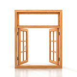 Wooden double window opened Royalty Free Stock Photos