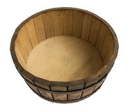 Wooden dough bowl. Old round wooden bowl for mixing dough isolated on a white background Royalty Free Stock Images