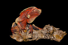 Wooden dragon. A wooden red lizard with black background stock images