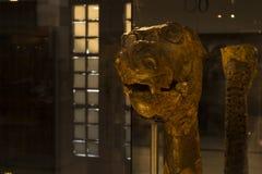 Wooden dragon head at viking ship museum royalty free stock photos