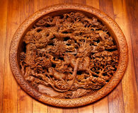 Wooden Dragon Panel Jing An Temple Shanghai China Stock Photo