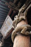 A wooden dragon sculpture on the pillars of jin ancestral hall in Shanxi Province, China stock image