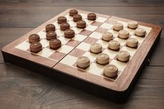 Wooden draughts game Royalty Free Stock Photography