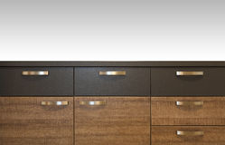 Wooden drawer cabinets Stock Images
