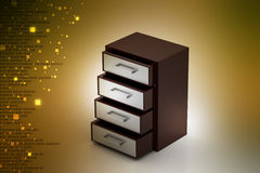 Wooden drawer. In color background Stock Photos