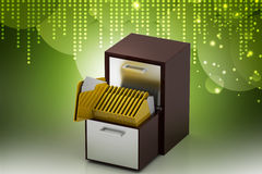 Wooden drawer with file folder. In color background Royalty Free Stock Photos