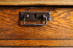 Wooden drawer with handle Royalty Free Stock Image