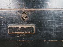 Wooden drawer and keyhole with handle close up Stock Images