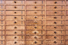 Wooden drawers with Japanese Royalty Free Stock Images