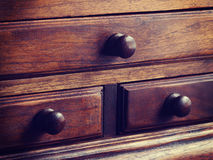 Wooden drawers old vintage retro Stock Image