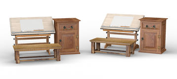 Wooden drawing table with bench and cabinet , clipping path incl Royalty Free Stock Photography