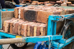 Wooden Dray with Bricks. Royalty Free Stock Photography