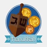 Wooden Dreidel with Gelts, Vector Illustration Stock Photography
