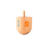 Wooden dreidel (spinning top) for hanukkah jewish holiday. Stock Images