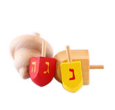 Wooden dreidels for hanukkah isolated on white background Stock Image