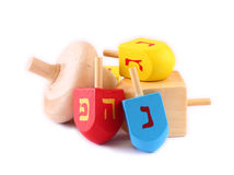 Wooden dreidels for hanukkah isolated on white background. Royalty Free Stock Photography