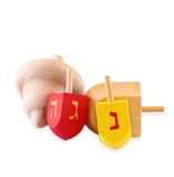 Wooden dreidels for hanukkah isolated on white background Royalty Free Stock Photos