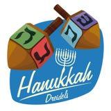 Wooden Dreidels on Hanukkah Sticker, Vector Illustration Royalty Free Stock Images