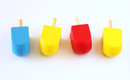 Wooden dreidels (spinning top) for hanukkah jewish holiday Royalty Free Stock Photos