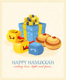 Wooden dreidels (spinning top) for Hanukkah Jewish holiday. Vector illustration stock illustration