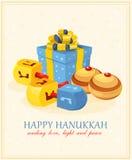 Wooden dreidels (spinning top) for Hanukkah Jewish holiday. Vector illustration Royalty Free Stock Photo