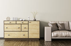 Wooden dresser and beige leather sofa 3d rendering. Modern interior of living room with wooden dresser and beige leather sofa 3d rendering Royalty Free Stock Photo