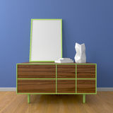 Wooden dresser and blue wall mockup Stock Image