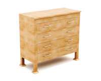 Wooden dresser isolated on white background. 3d render image Royalty Free Stock Images