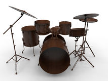 Wooden drums. 3D render illustration of a set of wooden drums. The composition is isolated on a white background with shadows Stock Photography