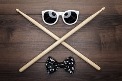 Wooden drumsticks on wooden table Stock Photos