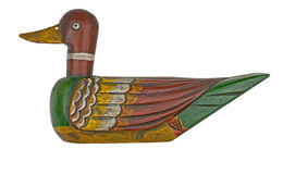 Wooden duck decoy. Vintage wooden duck decoy isolated on white with clipping path stock images