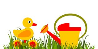 Wooden duck pull toy and watering can Stock Photography