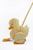 Wooden Duck Toy. On white background stock image