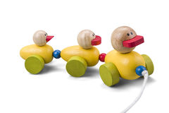 Wooden duck toy family train with colorful parts isolated over w Royalty Free Stock Image