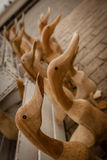 Wooden ducks for sale Royalty Free Stock Images