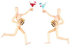 Wooden Dummy with alcohol cocktail and gift Royalty Free Stock Photos
