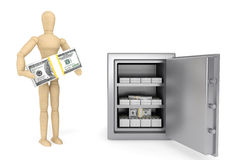 Wooden Dummy and bank safe Stock Image
